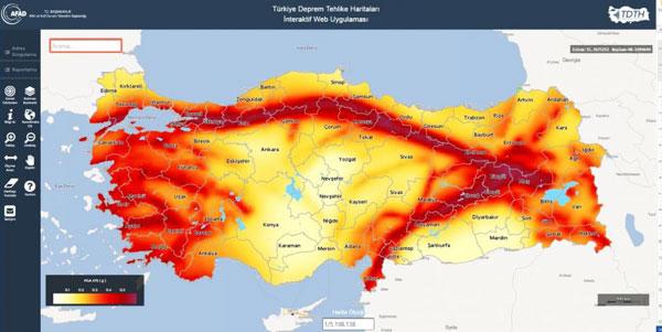 Deprem haritası AFAD