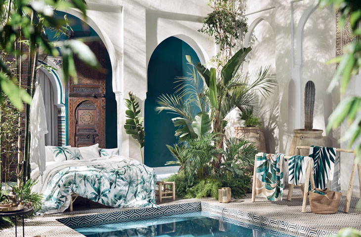 Tropik ve botanik yatak odası dekorasyonu fikirleri