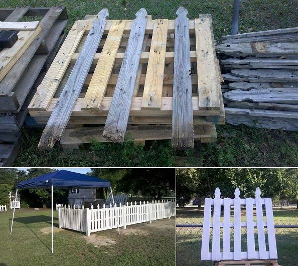 Ahşap paletlerle çit yapımı