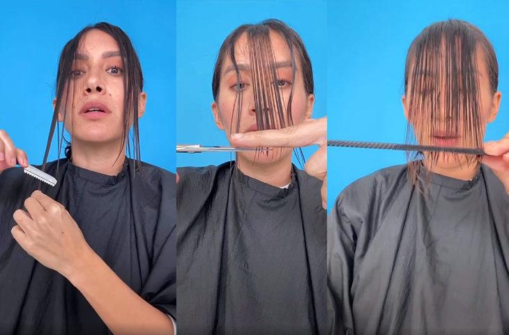 evde kadın ve erkek saç kesimi
