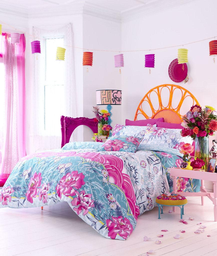 Yatak odası dekorasyon stilleri çılgın çiçekli