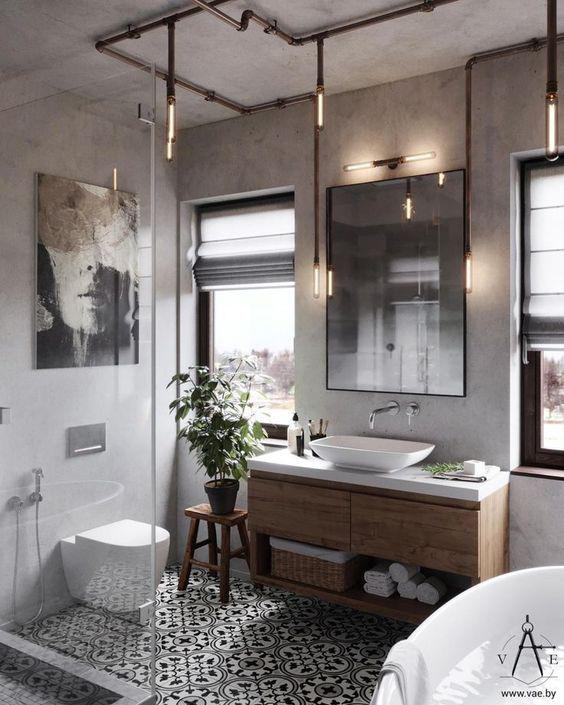 Loft stilde banyo dekorasyonu