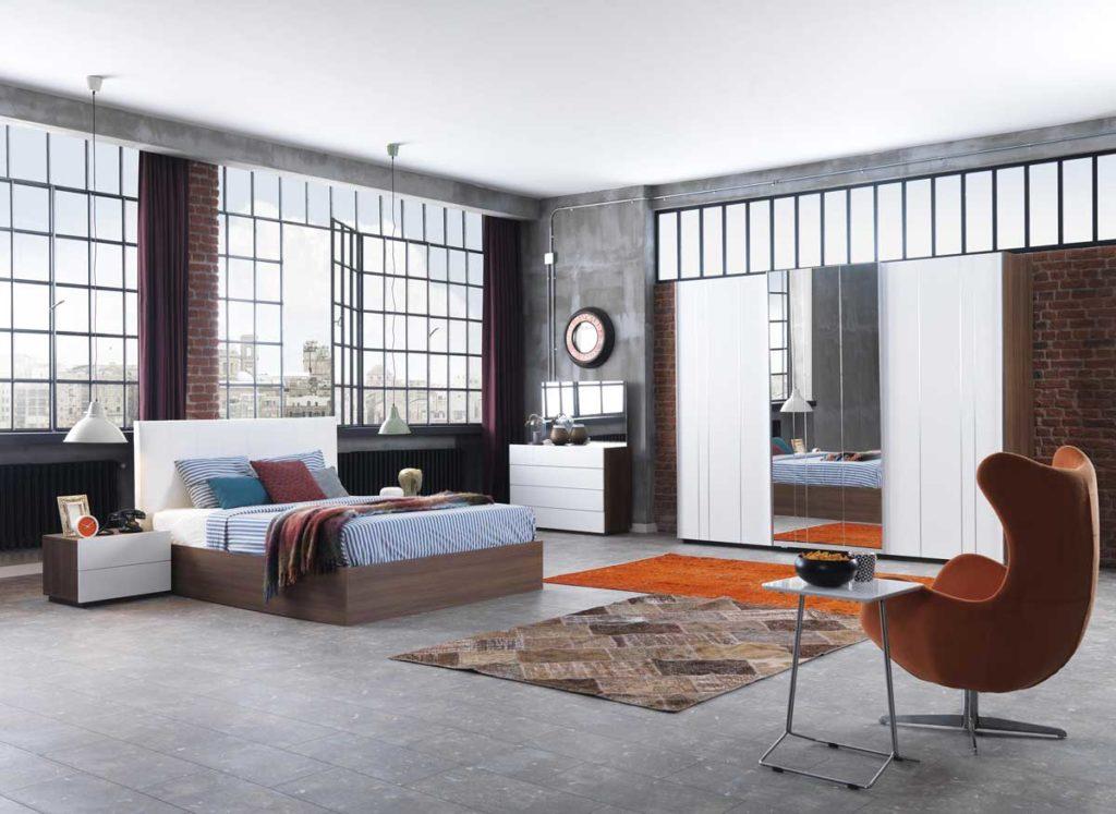loft stilde yatak odası dekorasyonu