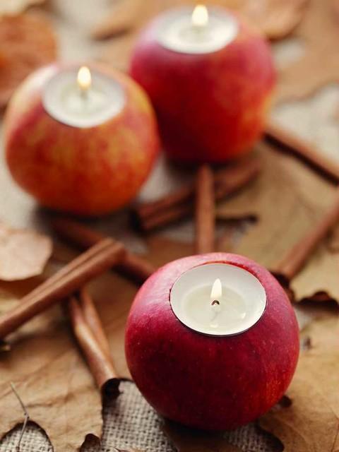 Elma ile sonbahar dekorasyonu