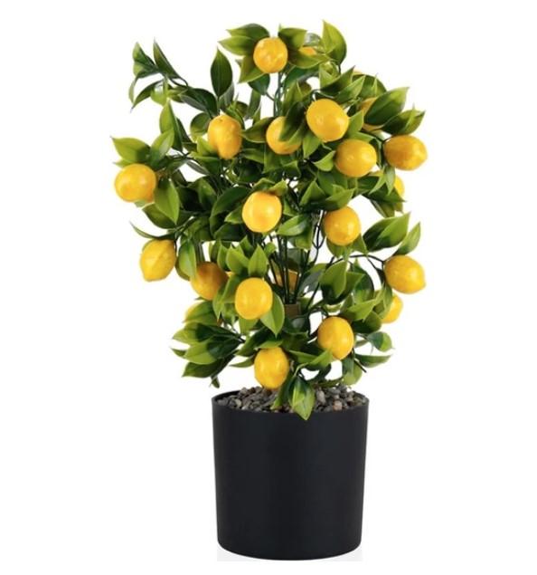 Çiçekmisin Siyah Saksıda Yapay Limon Ağacı